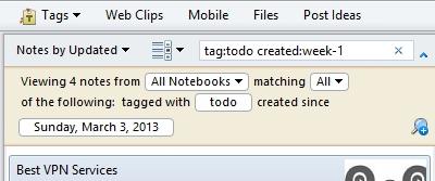 Evernote расширенный поиск, saved search