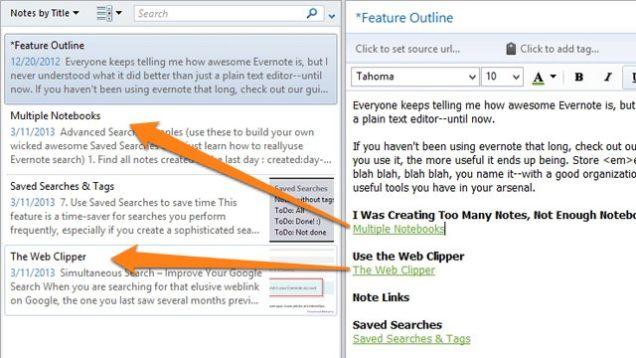 Evernote ссылки внутри заметки, notes links